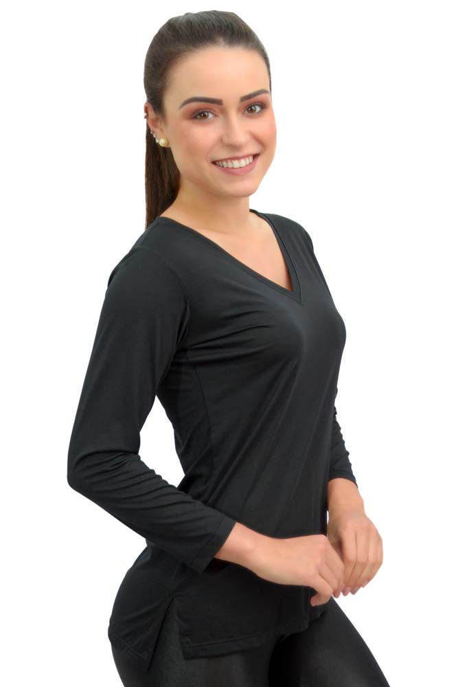 BLUSA MANGA 3/4 LU STRETCH PRETO TOP MODEL