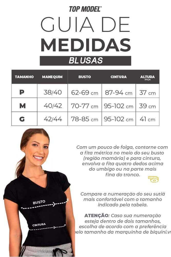 Blusa Academia - Tabela de Medidas