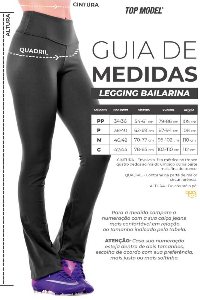 CALÇA BAILARINA SUPLEX 3 VIÉS PRETO TOP MODEL