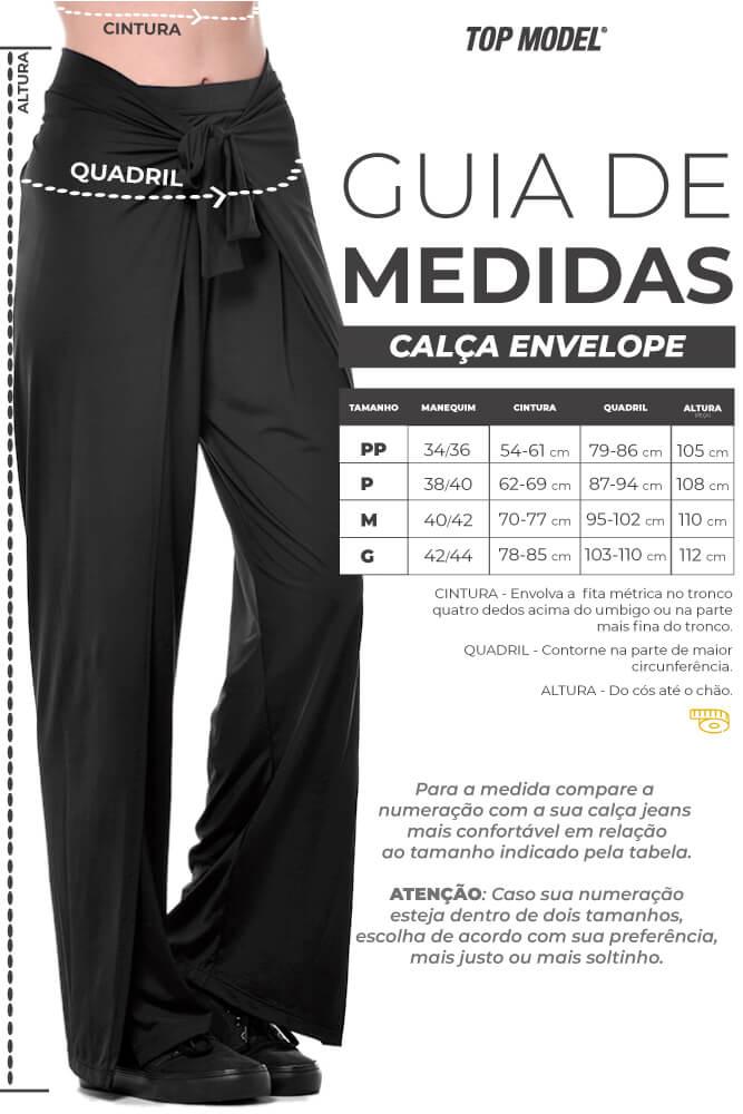 CALÇA COMPRIDA ENVELOPE CÓS TRANSPASSADO PRETA TOP MODEL