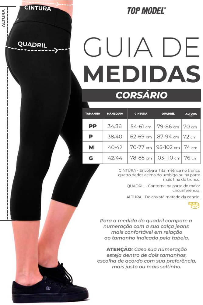 Calça Corsário Light - Tabela de Medidas