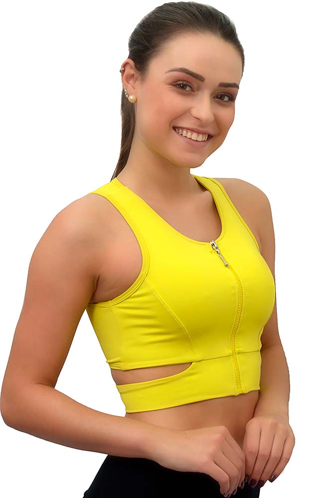CROPPED COM ZÍPER BEST LIGHT VERDE LEMMON TOP MODEL
