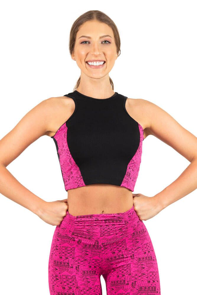 CROPPED ESTILO LINKA PRETO E ROSA NEON TOP MODEL