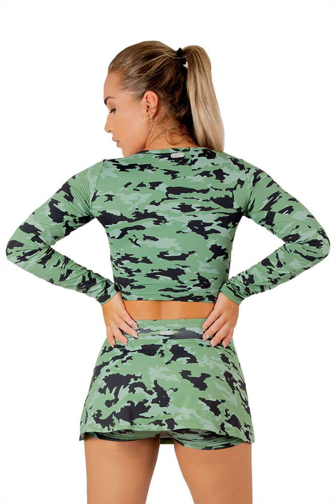 CROPPED MANGA LONGA CAMUFLADO TOP MODEL