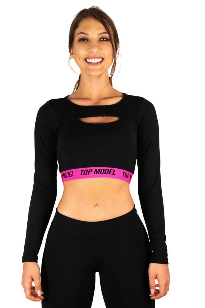 CROPPED MANGA LONGA PRETO E ROSA BRAND TOP MODEL