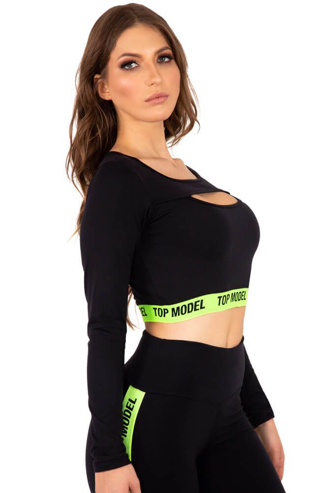 CROPPED PRETO E VERDE LIMÃO BRAND TOP MODEL