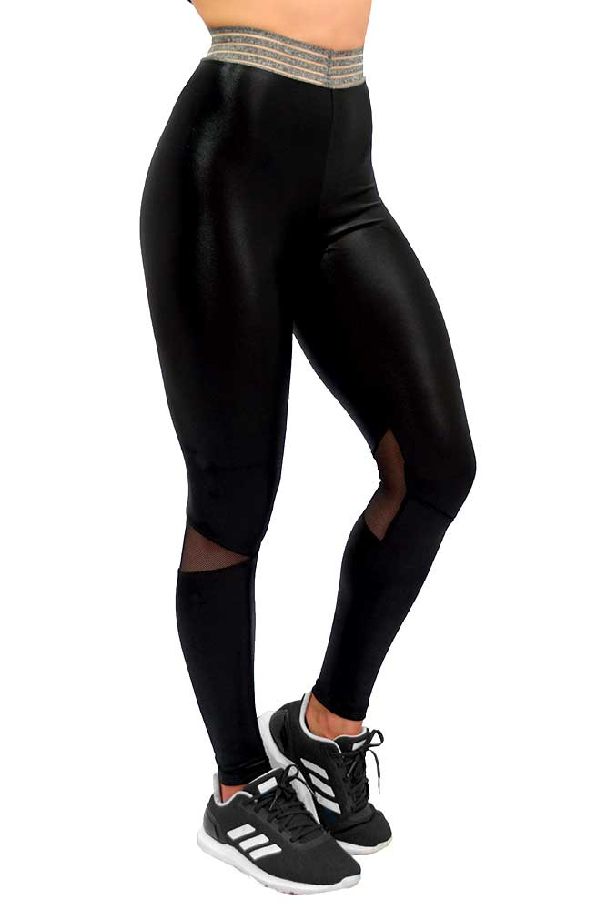 LEGGING CIRRE MAIARA PRETA COM MESCLA TOP MODEL