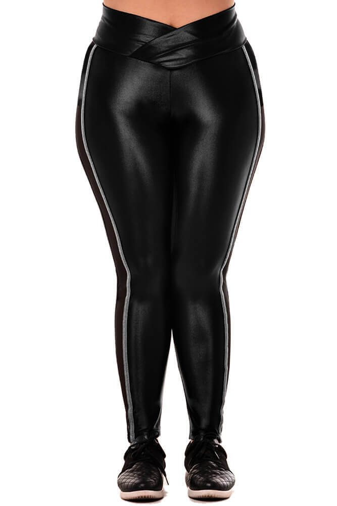 LEGGING CIRRE PLUS SIZE CÓS TRANSPASSADO COM TULE PRETA TOP MODEL