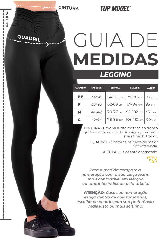 Legging Supplex Estampada - Tabela de Medidas
