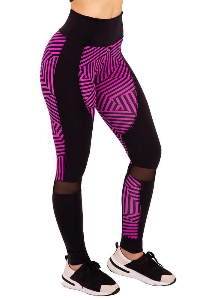 LEGGING ESTAMPADA TOP TREND MASTER LISTRAS ROSA TOP MODEL