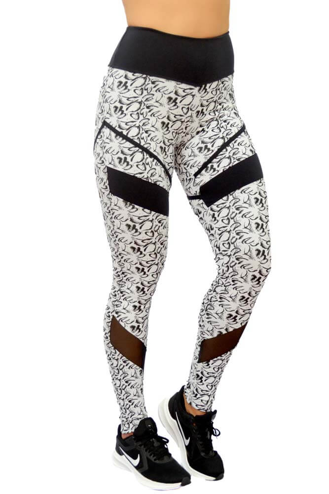 LEGGING JACQUARD IBIZA BRANCO COM SUPPLEX PLUS TOP MODEL
