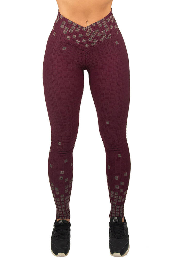 LEGGING JACQUARD VINHO CÓS TRANSPASSADO TOP MODEL