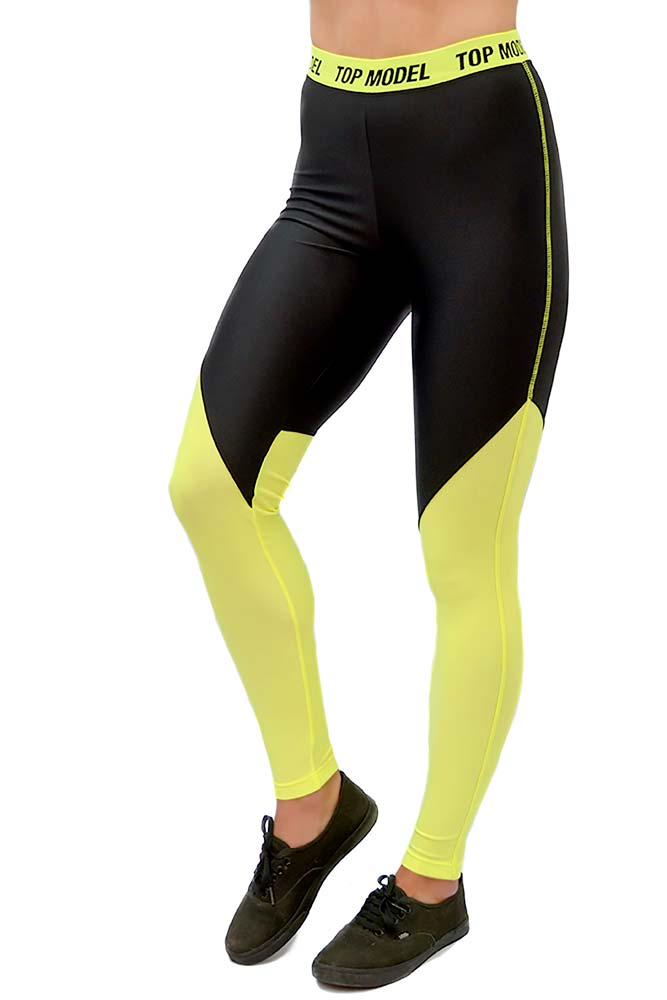 LEGGING LYCRA BUSH PRETO E AMARELO FLUOR BRAND TOP MODEL