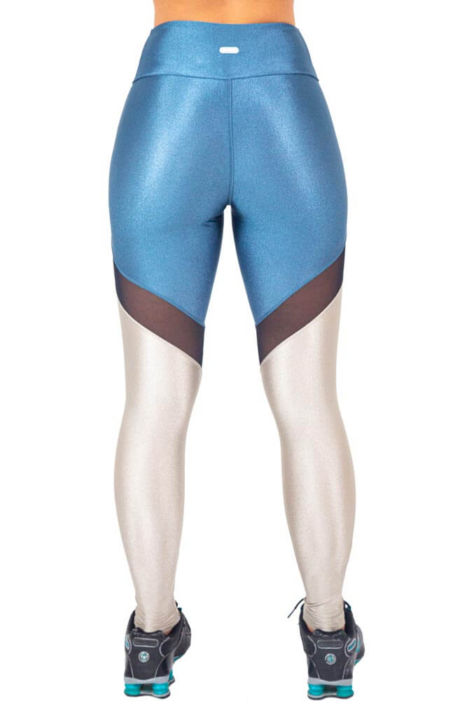 LEGGING LYCRA DUO METALIZADO AZUL E CINZA TOP MODEL