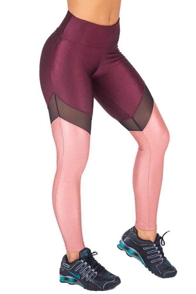 LEGGING LYCRA DUO METALIZADO BORDÔ E ROSA TOP MODEL