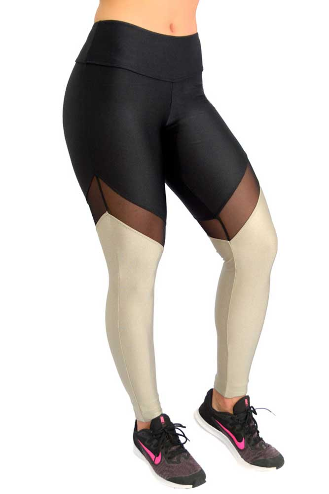 LEGGING LYCRA DUO METALIZADO PRETO E CINZA TOP MODEL