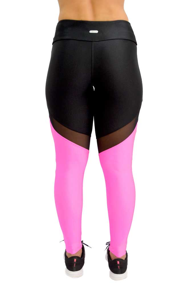 LEGGING LYCRA DUO METALIZADO PRETO E ROSA TOP MODEL
