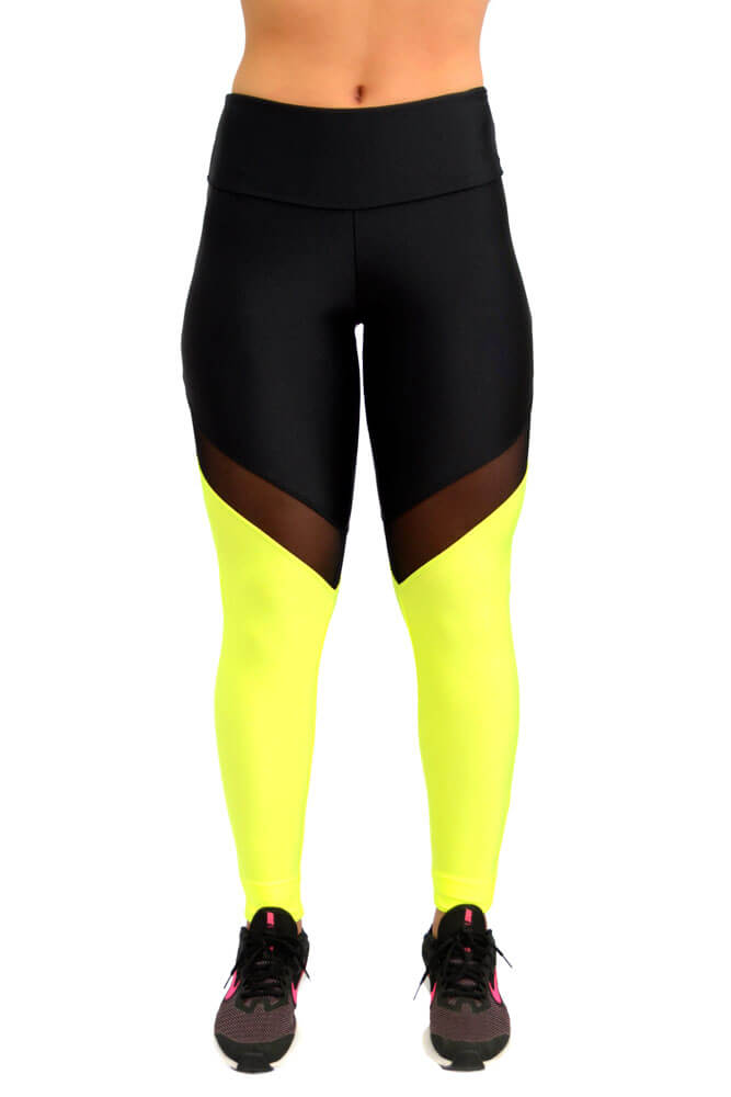 LEGGING LYCRA DUO METALIZADO PRETO E VERDE TOP MODEL