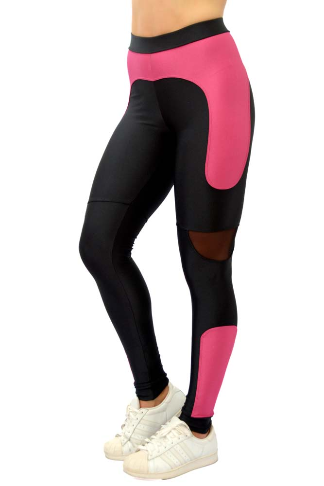 LEGGING LYCRA QUITERIA PRETO E ROSA TOP MODEL