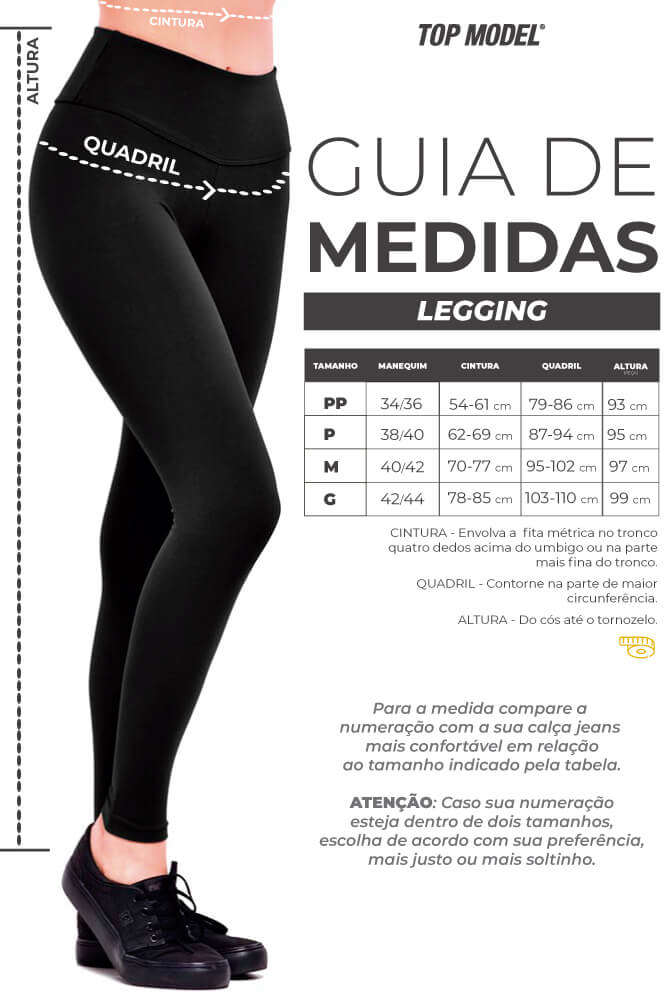 Legging Supplex - Tabela de Medidas