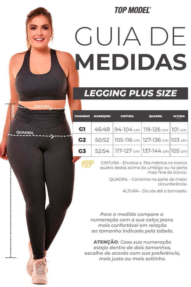 LEGGING SUPPLEX PLUS SIZE AZUL MARINHO CÓS FRANZIDO TOP MODEL