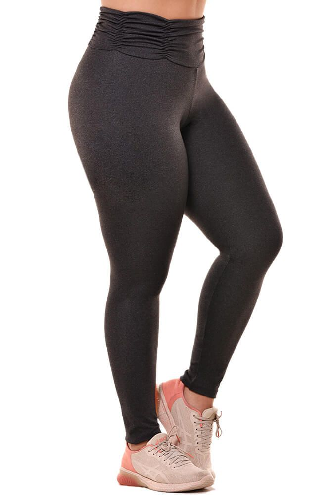 LEGGING SUPPLEX PLUS SIZE CÓS FRANZIDO MESCLA ESCURO TOP MODEL