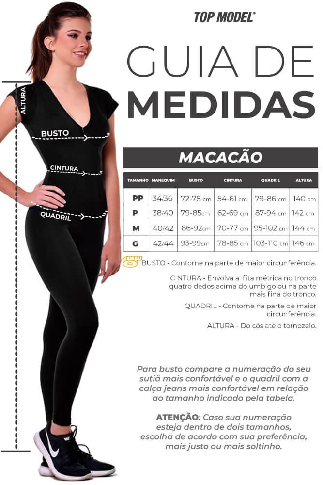 MACACÃO LEGGING SUPLEX CURIE PRETO TOP MODEL