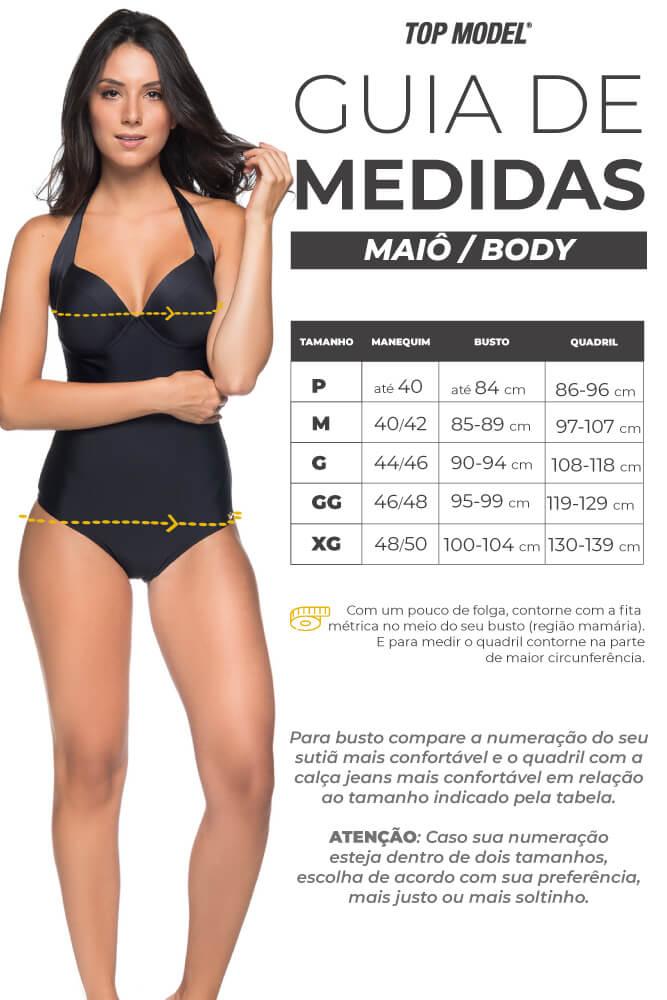 Maiô Meia Taça Com bojo - Tabela de Medidas