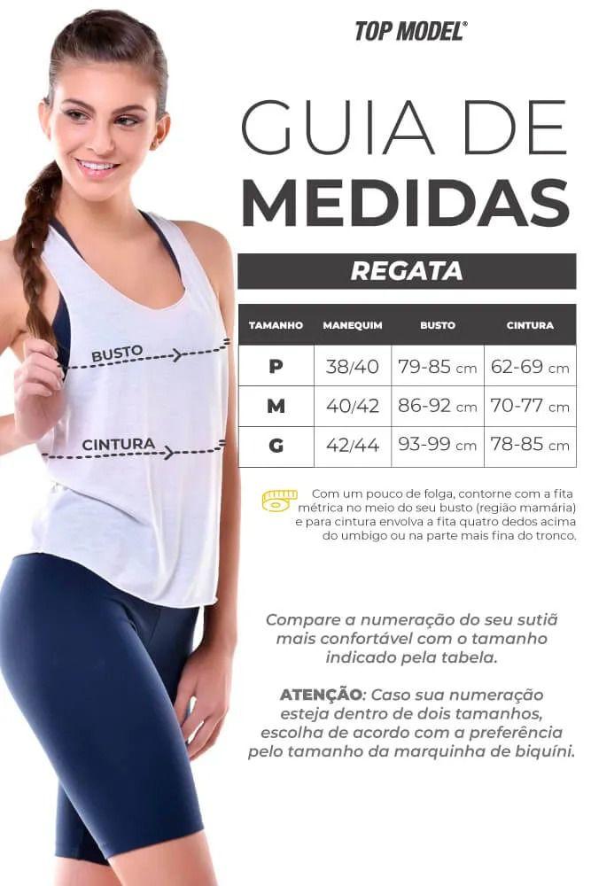 REGATA RETA COM TELA NAS COSTAS PRETA TOP MODEL