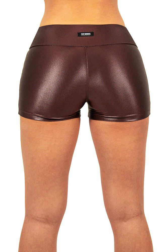 SHORTS CIRRE PESPONTO MARROM TOP MODEL