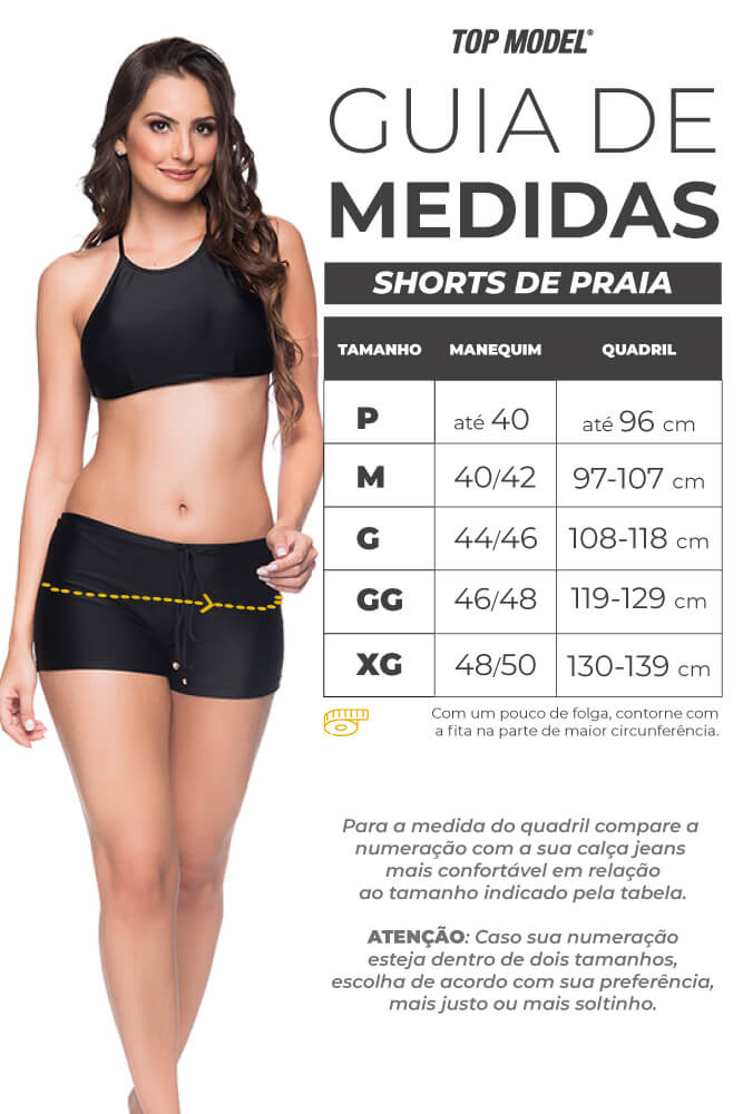 Calcinha de Biquíni Shorts de Praia - Tabela de Medidas