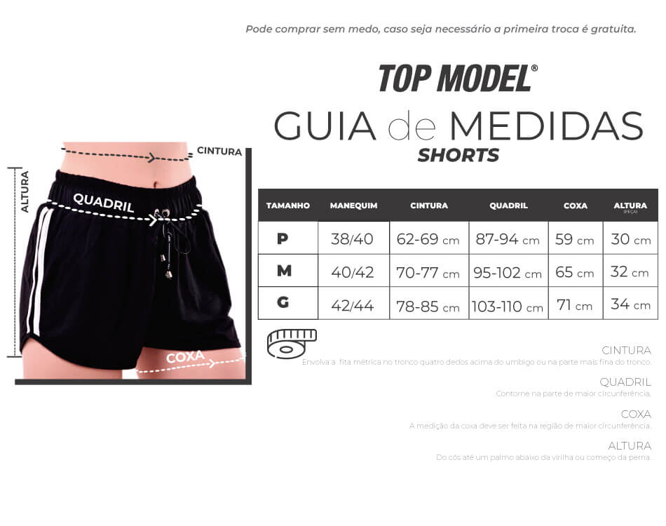 SHORTS PRETO COM BRILHO LATERAL
