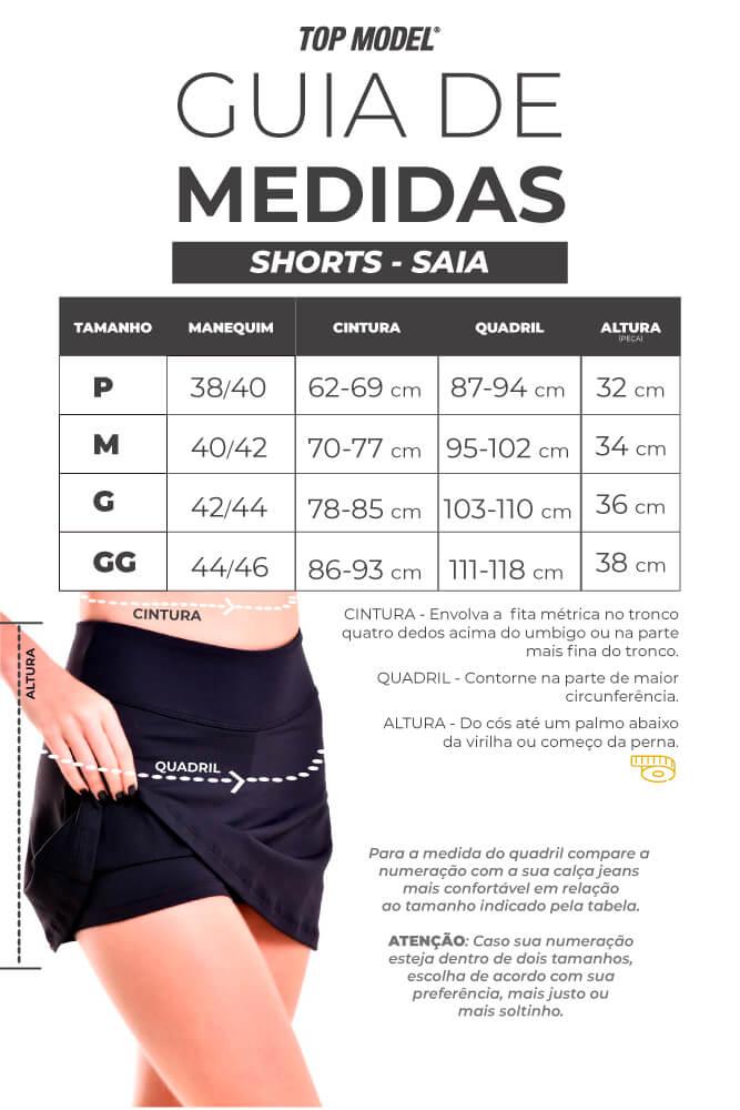 Shorts saia para academia - Tabela de Medidas