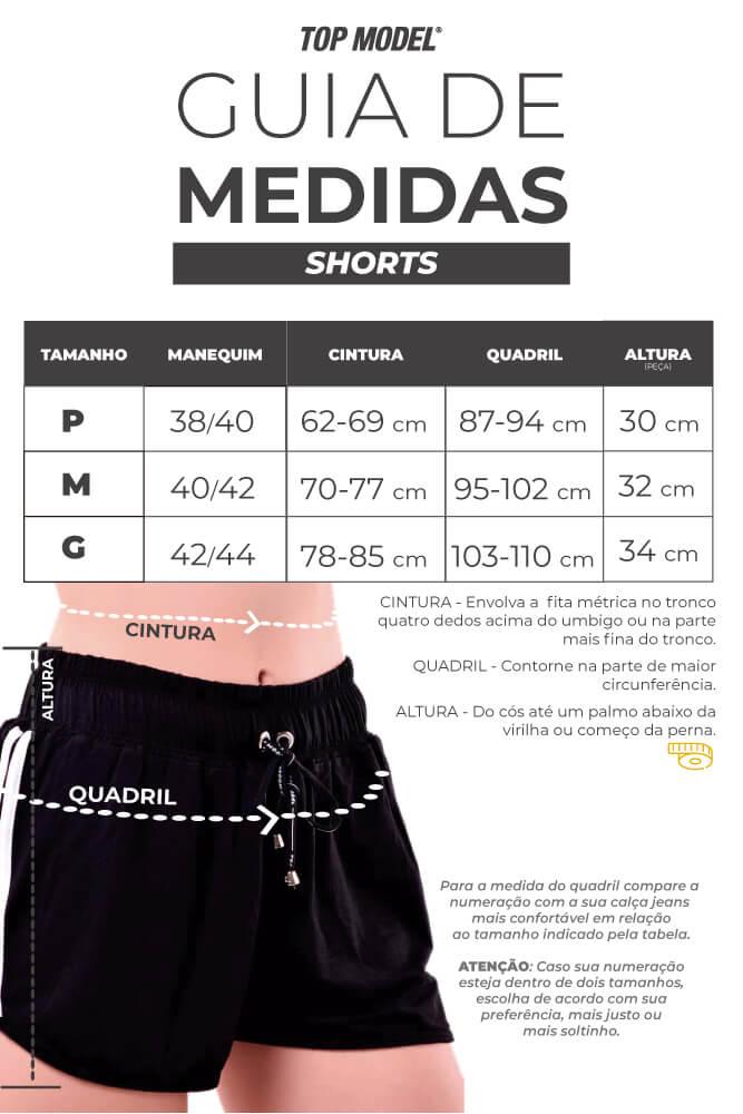 Shorts Singrid - Tabela de Medidas