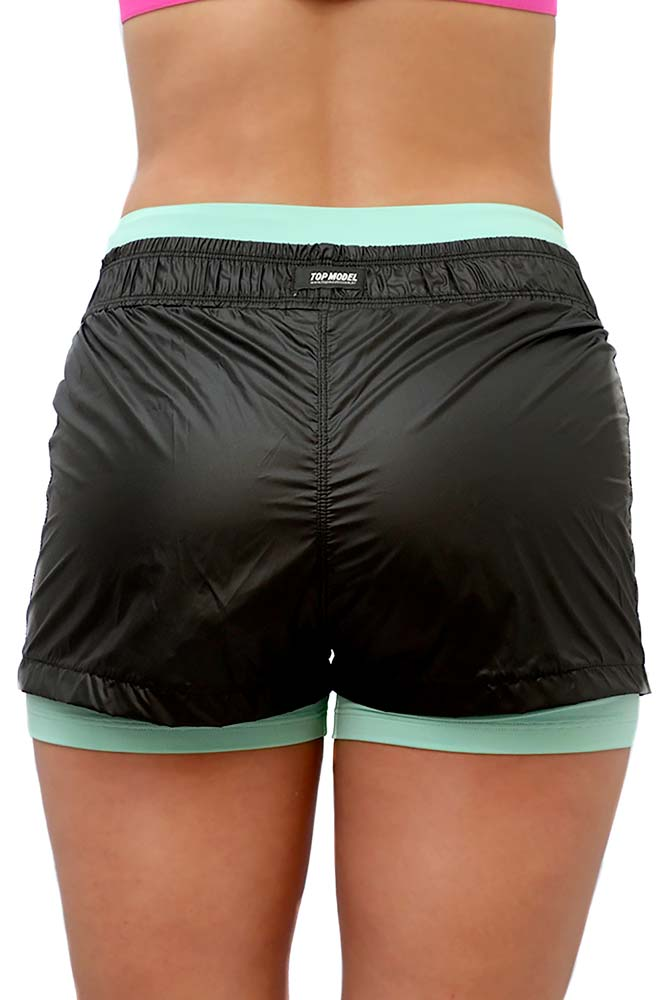 SHORTS SOBREPOSTO BOX PRETO E VERDE TOP MODEL