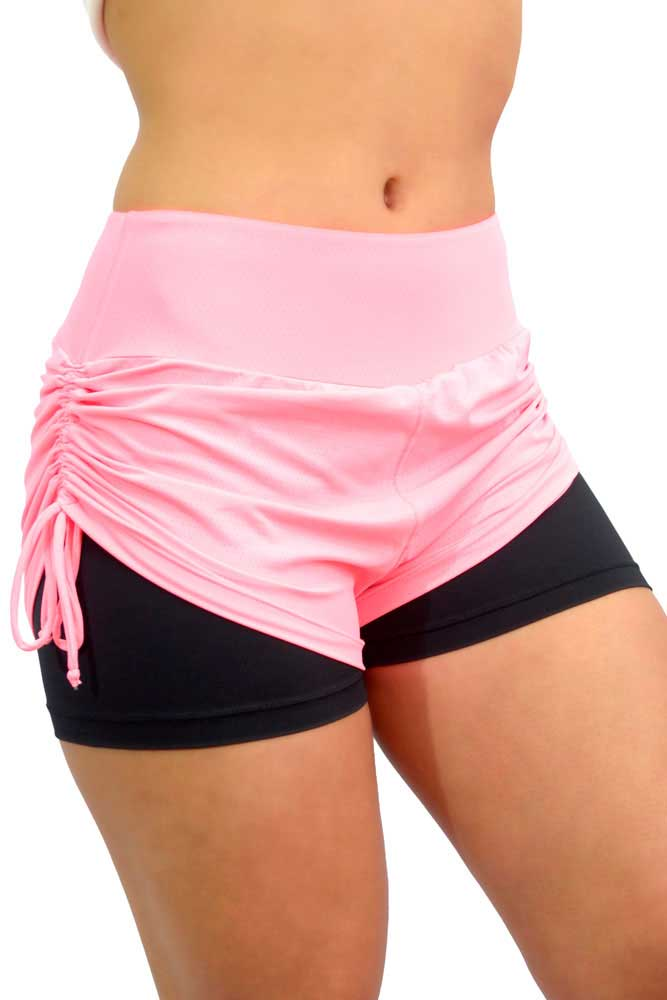 SHORTS SOBREPOSTO FRANZIR ROSA E PRETO TOP MODEL