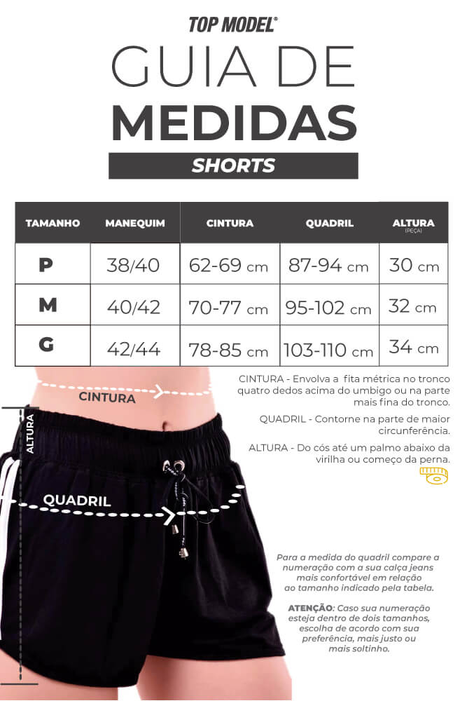 Shorts Sobreposto Light - Tabela de Medidas