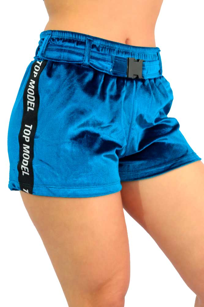SHORTS VELUDO STREET WEAR AZUL PACÍFICO E PRETO TOP MODEL