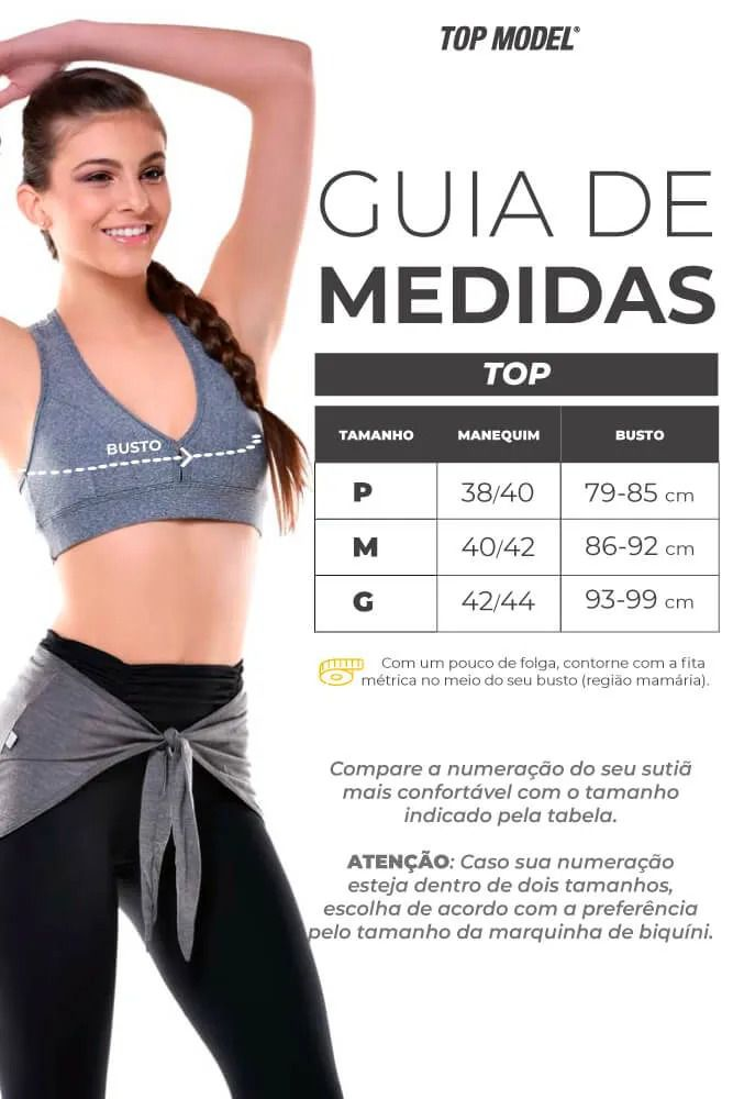 Legging Bailarina Supplex - Tabela de Medidas