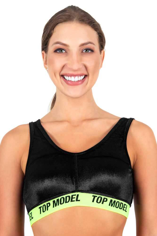 TOP TRADICIONAL ESPORTIVO CHIQUE PRETO E AMARELO FLUOR TOP MODEL