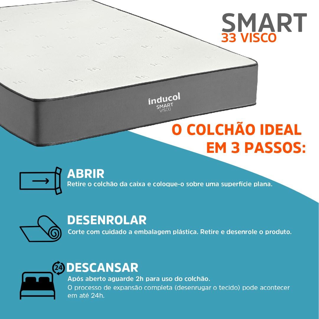 Colchão Inducol Smart 33 Visco Solteiro King 96x188