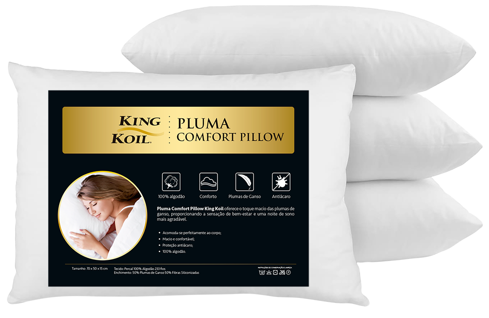 Travesseiro King Koil Pluma Comfort Pillow 15x70x50
