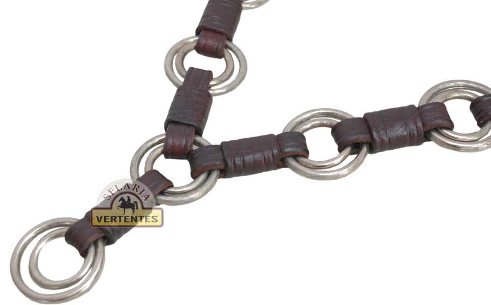 Conjunto de Peitoral e Cabeçada Argolada de Luxo SV5707 - Marrom