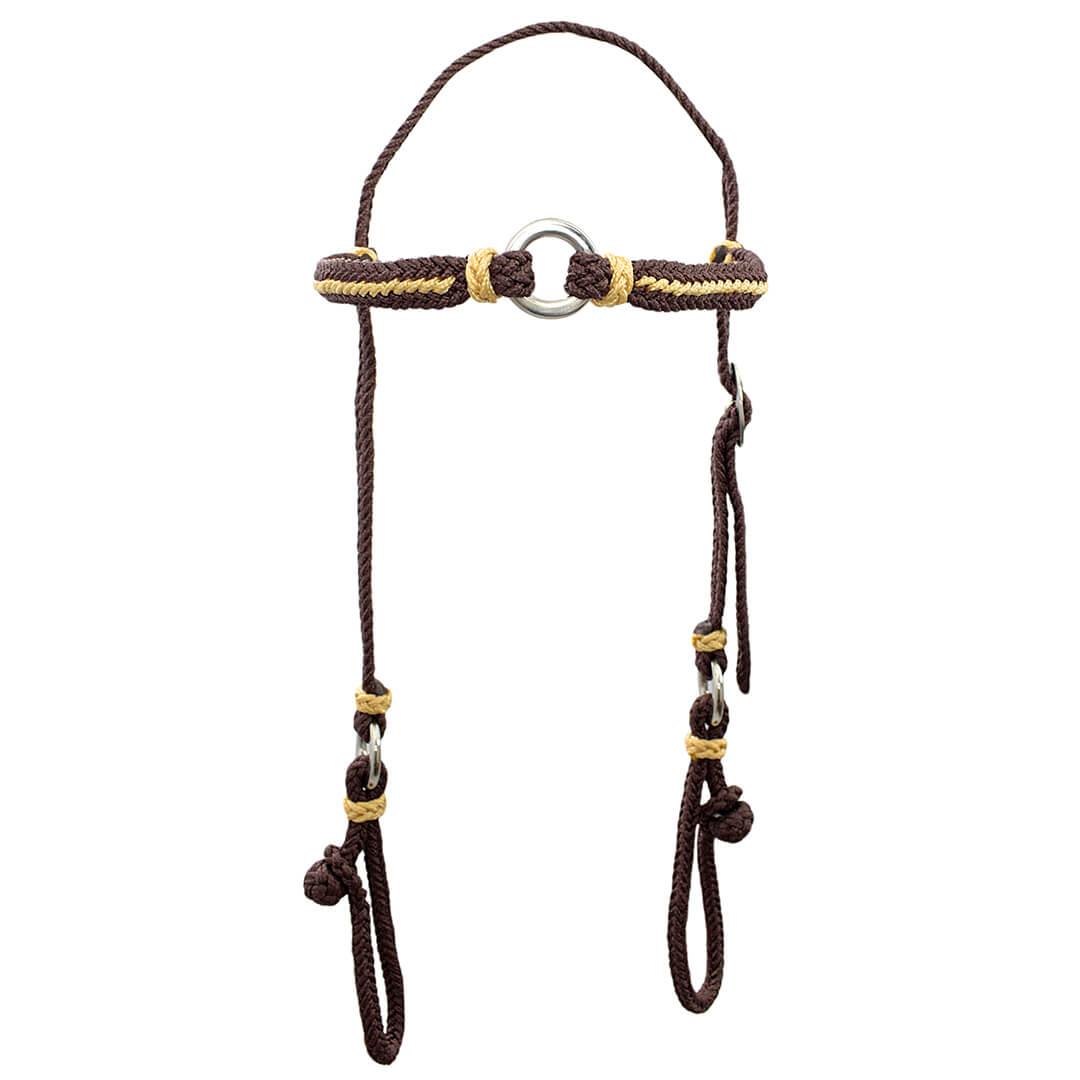 Kit Cabeçada e Peitoral trançados de corda - Marrom SV5227