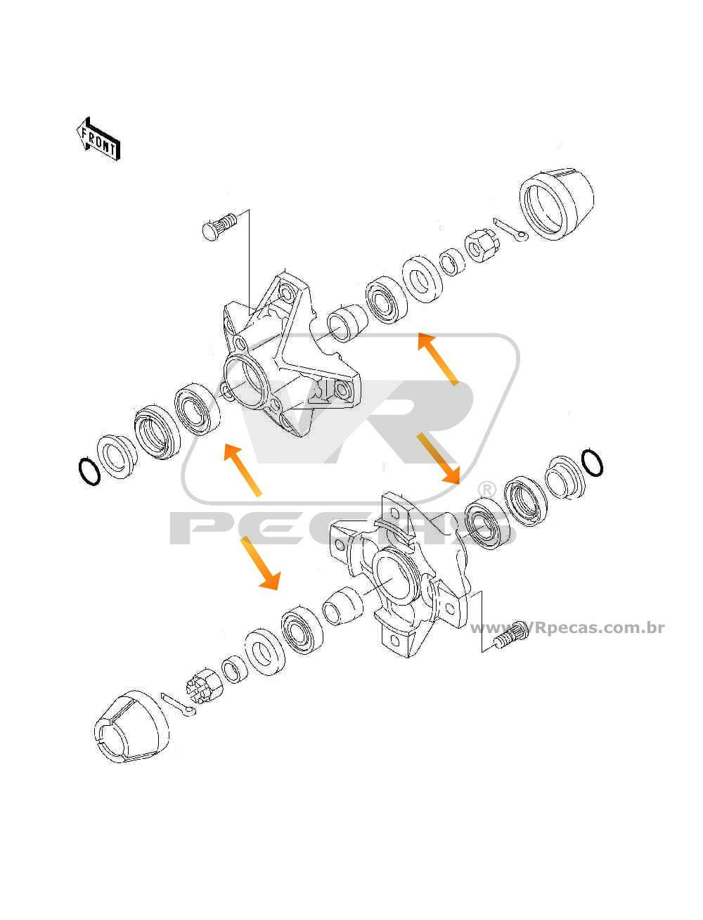 Rolamento de Roda Dianteira KAWASAKI Mule 500-550