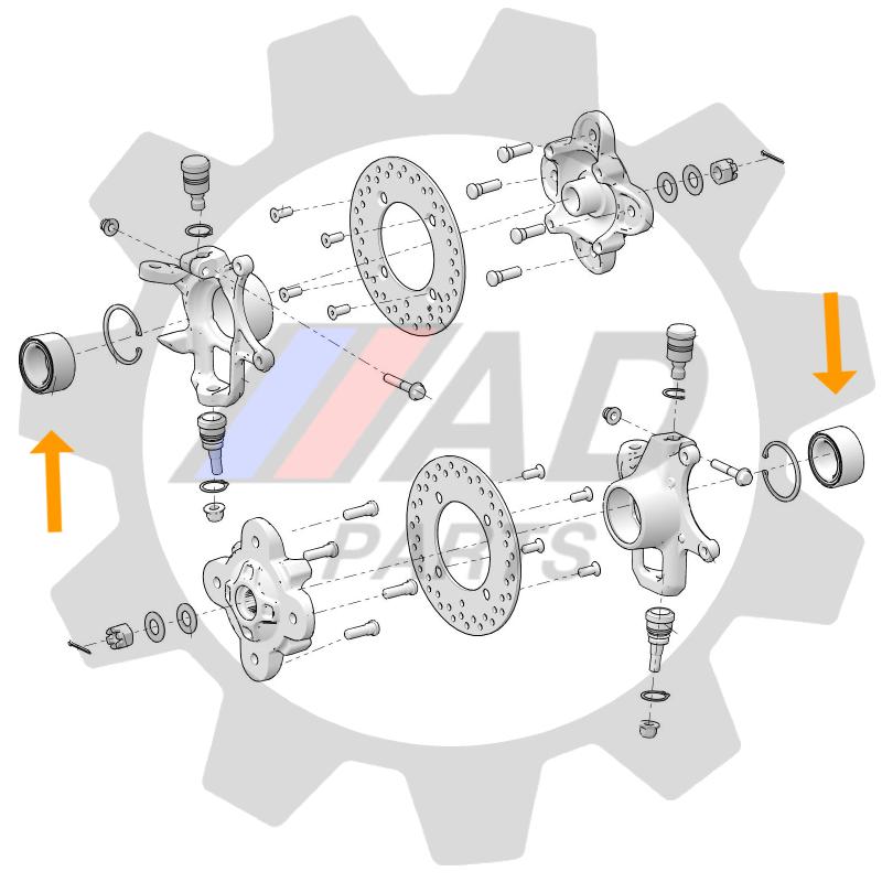 Rolamento de Roda Dianteira Polaris Brutus 2013 até 2018