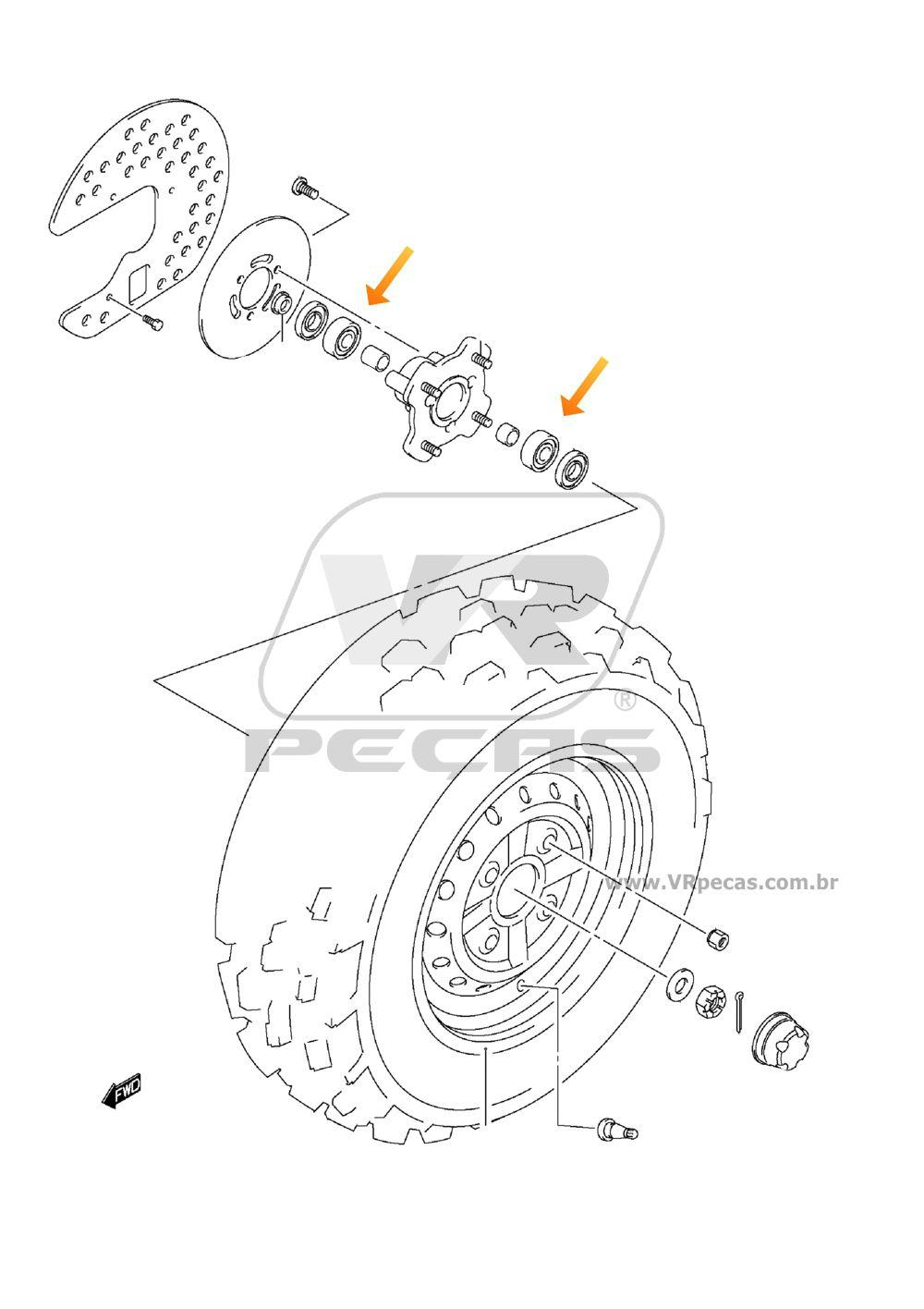 Rolamento de Roda Dianteira SUZUKI Quadrunner 2001-2004