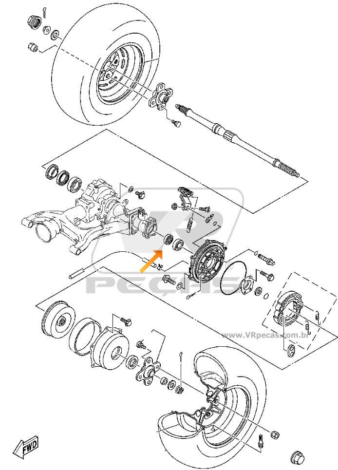 Rolamento de roda traseira Yamaha Bruin 2004-2006