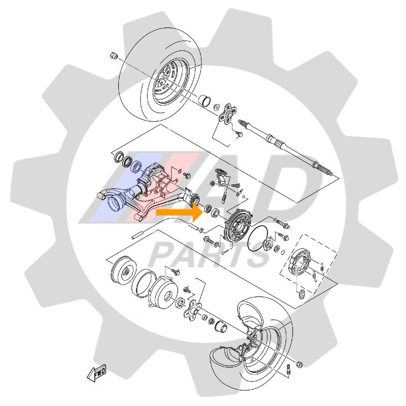 Rolamento de Roda Traseira YAMAHA Grizlly 2007 até 2014