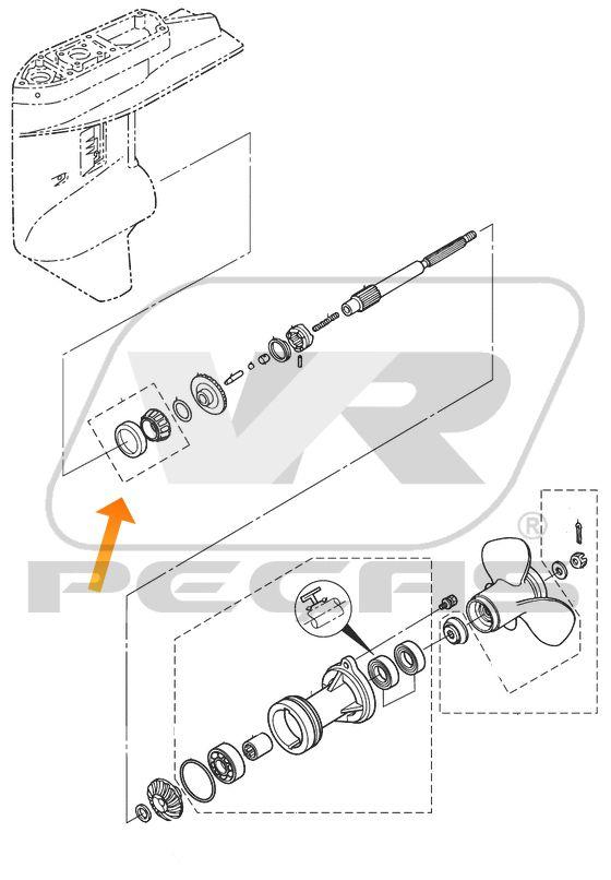 Rolamento Eixo propulsão Motores Mercury e Tohatsu 25HP/30HP